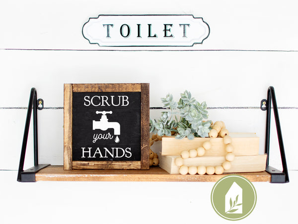 Scrub Your Hands SVG, Vintage Style Bathroom Cut Files