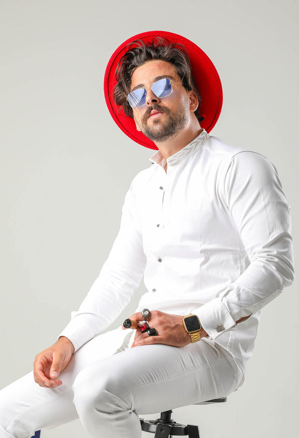 Brighter days call for lighter looks. So make sure you're wearing a Martini Bercolli B.L.E shirt when the sun decides to show its glorious face. You'll be feeling perfectly fine on even the stickiest of days. Crafted from cotton this all-white shirt, with its silvery embroidery to the mao collar for an extra sophisticated touch and silver-tone cufflinks fastening for an instant upgrade. Time to take your style to the next level. uae