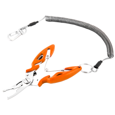 eTacklePro Stainless Steel Fishing Pliers with Fish Hook Remover | Braid Cutters | Split Ring Tip | Saltwater Corrosion Resistant Fishing Pliers