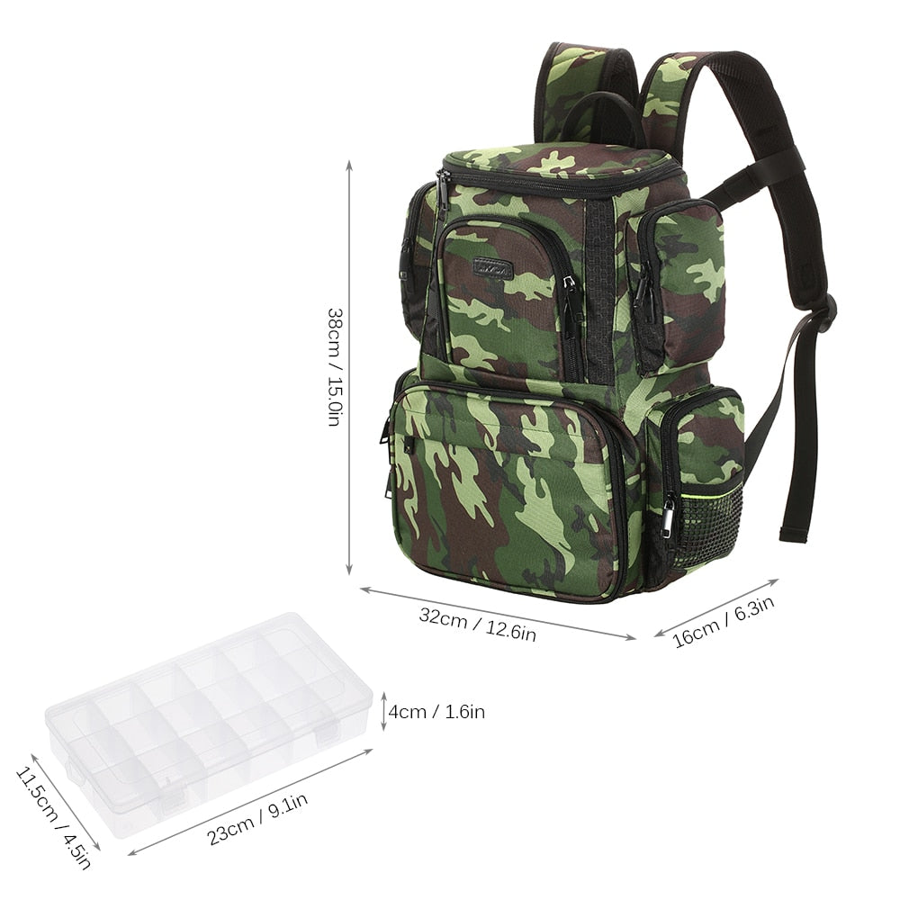 Piscifun Fishing Tackle Backpack Large Waterproof Bag Storage with 4 Trays Camo