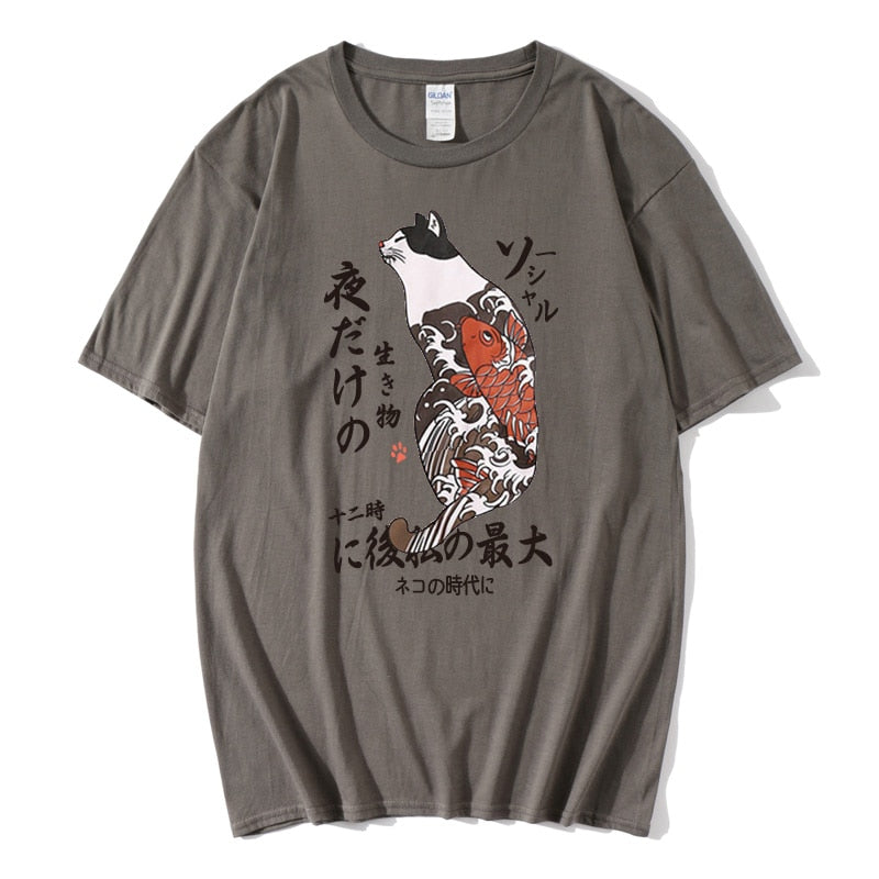 Hip Hop T Shirt Men Japanese Ukiyo E Cat