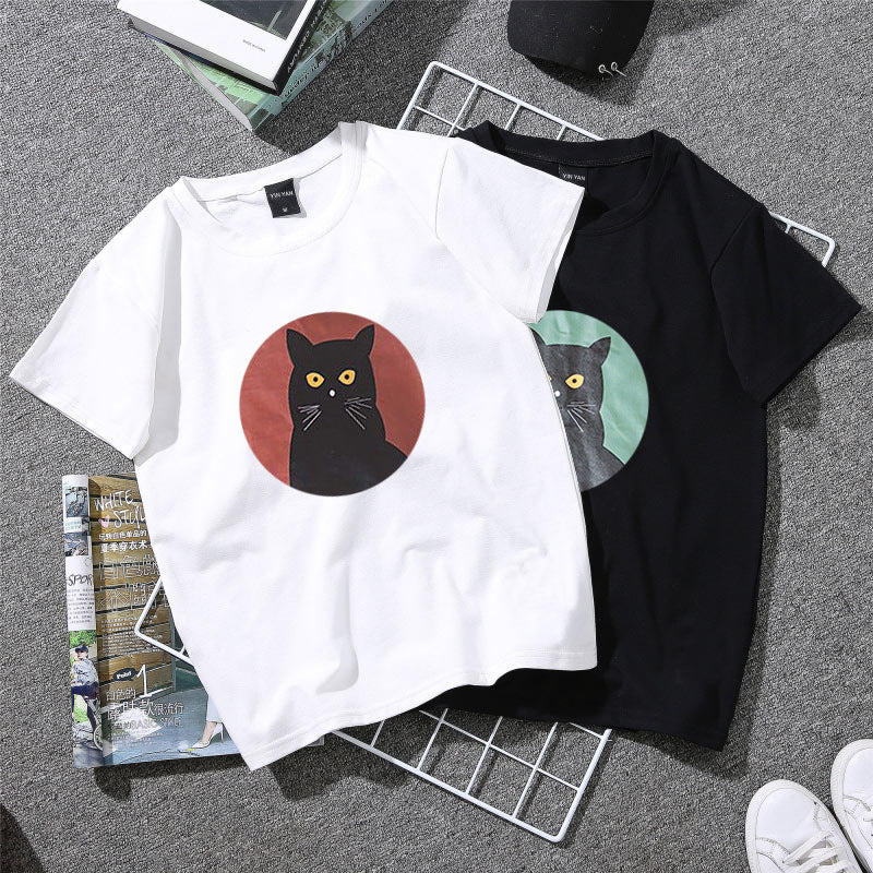 New Harajuku T Shirt Woman Cute Cat Print