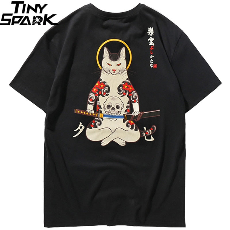 Men Harajuku T Shirt Japanese Ninja Cat