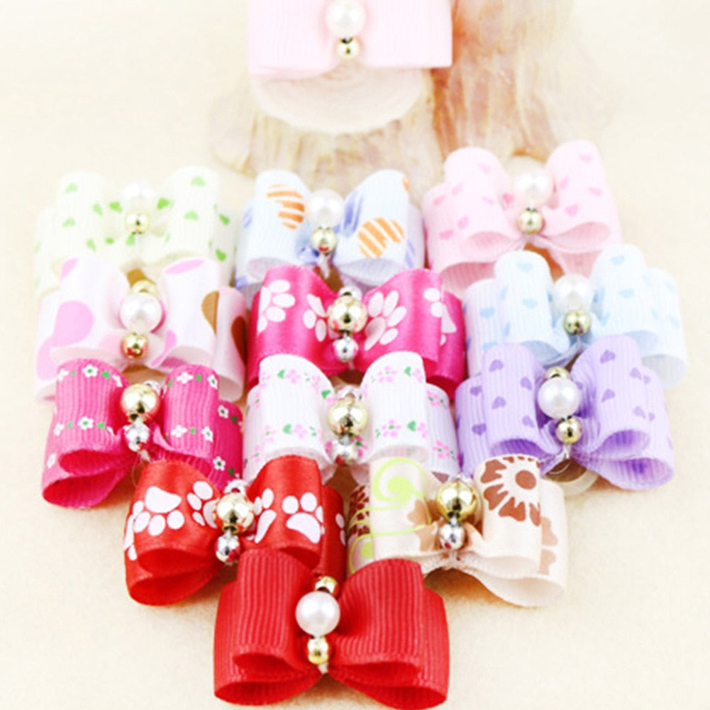 10pcs Mixed Colors Dog Hair Bows