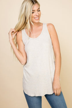 Waffle knit tunic tank top that falls to top of thighs.  Priced at $28.50.