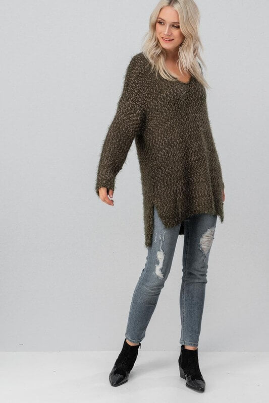 Oversized Chunky Knit Sweater Tunic