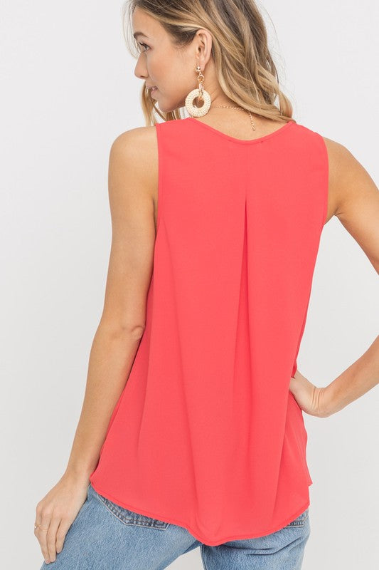 Draped Chiffon Crossover Tank