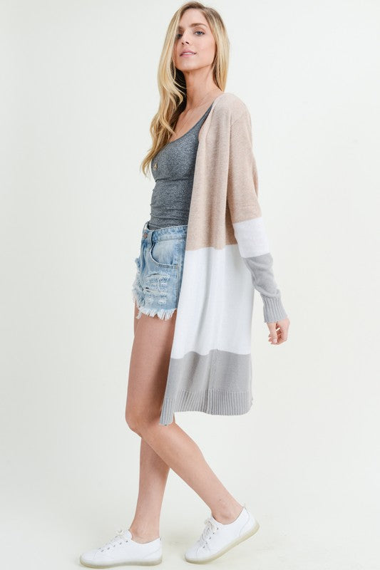 Taupe, white, and gray color block open cardigan knee length.  Priced at $55.00.