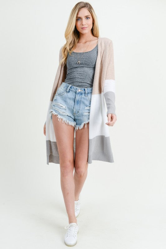 Color Block Long Sleeve Open Cardigan