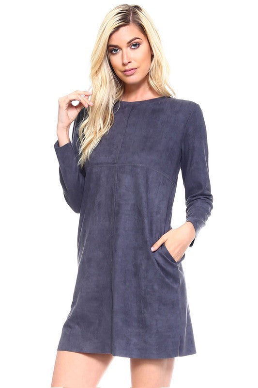 Charcoal faux suede shift dress with pockets is soft, comfortable, and stylish.  Priced at $78.00