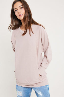 Ultimate weekend long crew neck sweatshirt with pockets.  Priced at $56.00.