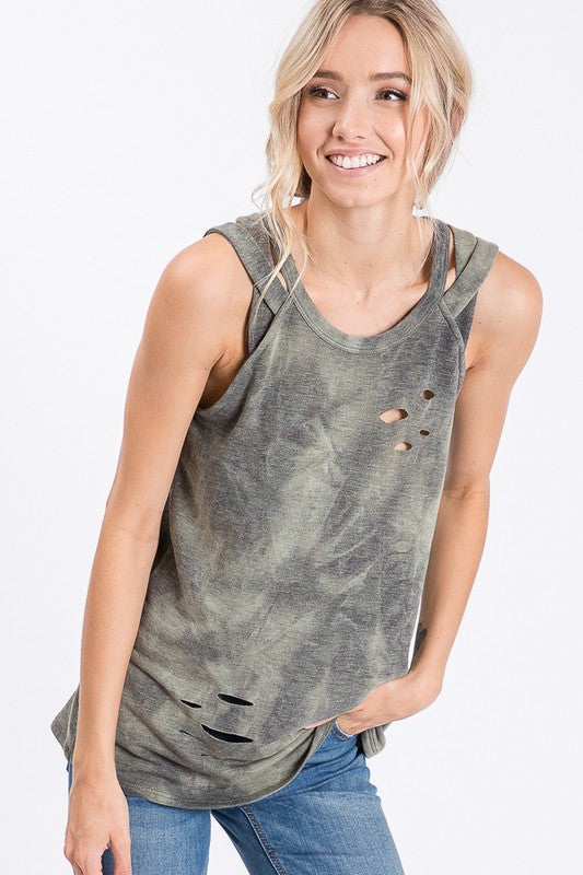 Vintage distressed camo tank top.  Priced at $29.00.