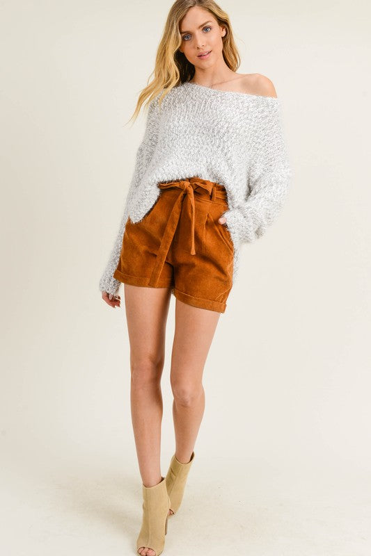 Fuzzy Knit Sweater with Deep V-Neck