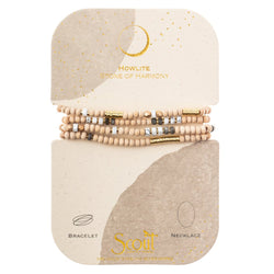 Wood, Stone & Metal Wrap-Howlite/Gold