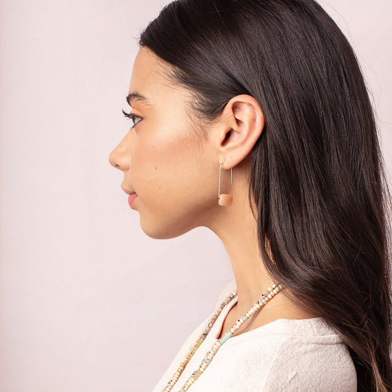 Floating Stone Earring-White Quartz/Silver