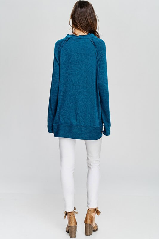 Mock Neck and Long Sleeve Knit Top
