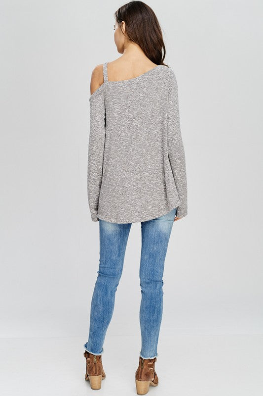 Long Sleeve Asymmetrical Twisted Hem Sweater