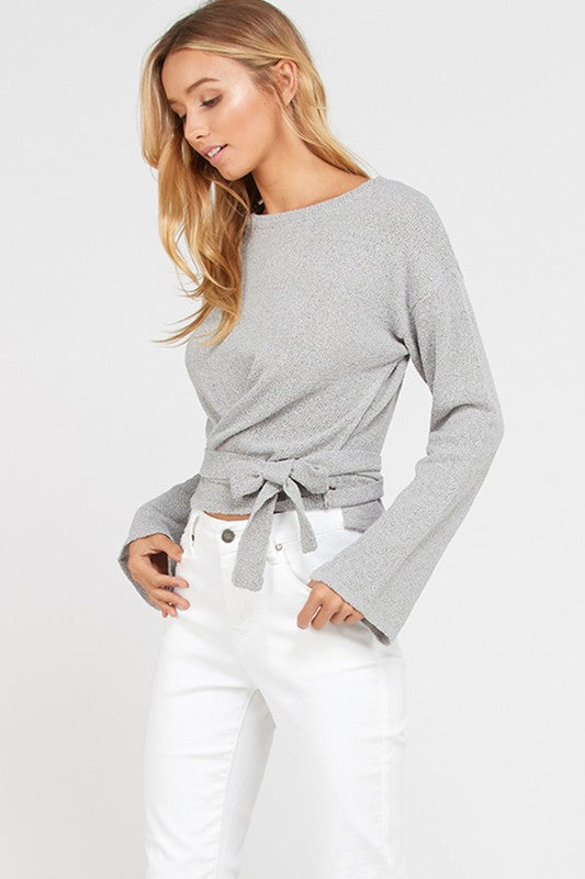 Long Sleeve Fine Belted Wrap Sweater
