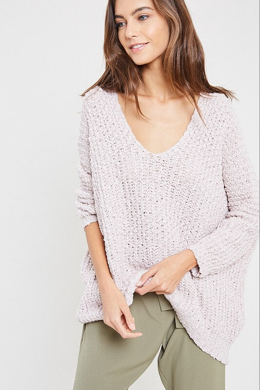 Popcorn Textured V-Neck Sweater