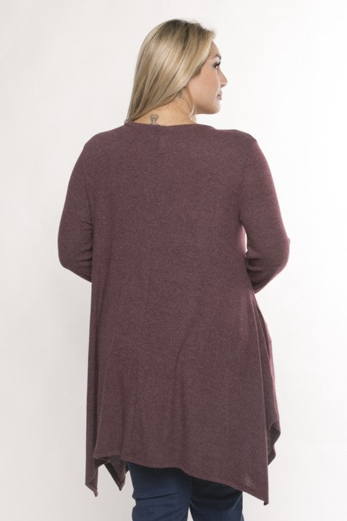 Brushed Knit Handkerchief Hem Long Sleeve Top with Pockets