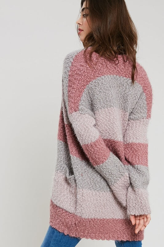 Colorblock Popcorn Long Cardigan
