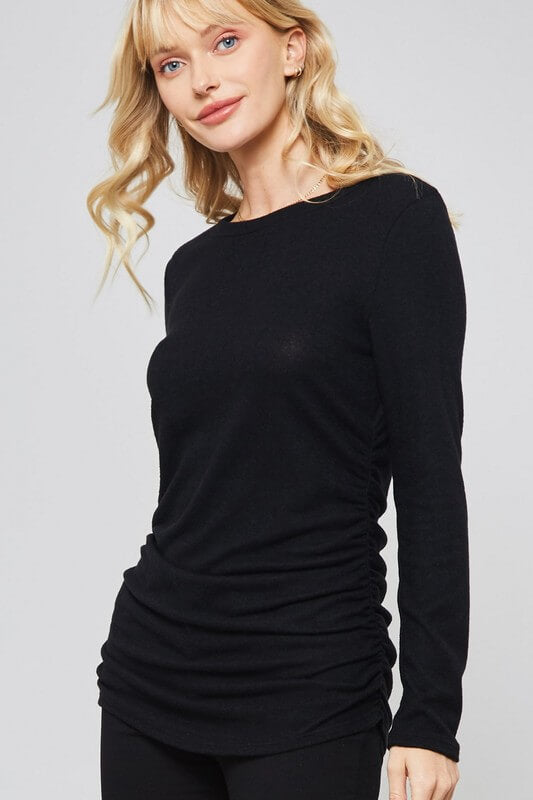 Brushed Knit Long Sleeve Top with Rouched Sides