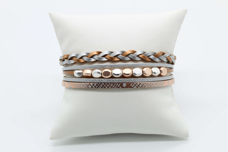 Rose Gold and Silver Magnetic Bracelet
