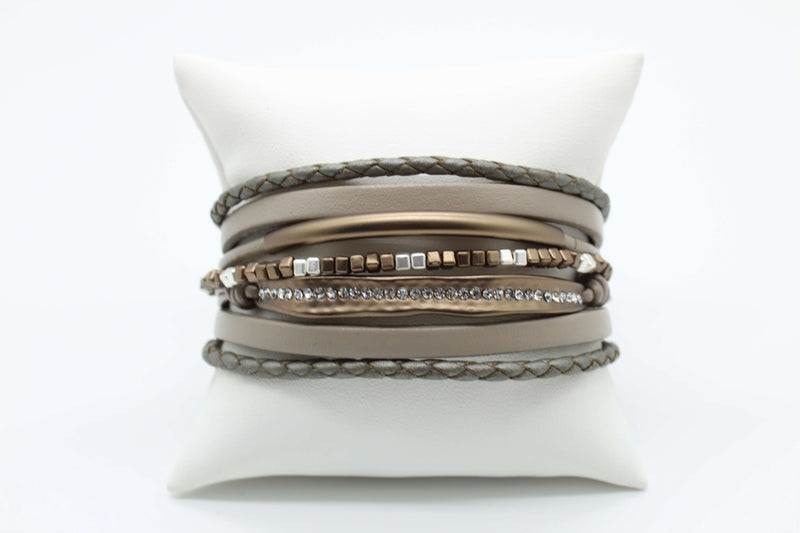 Metallic Silver and Gray with Bronze Magnetic Bracelet