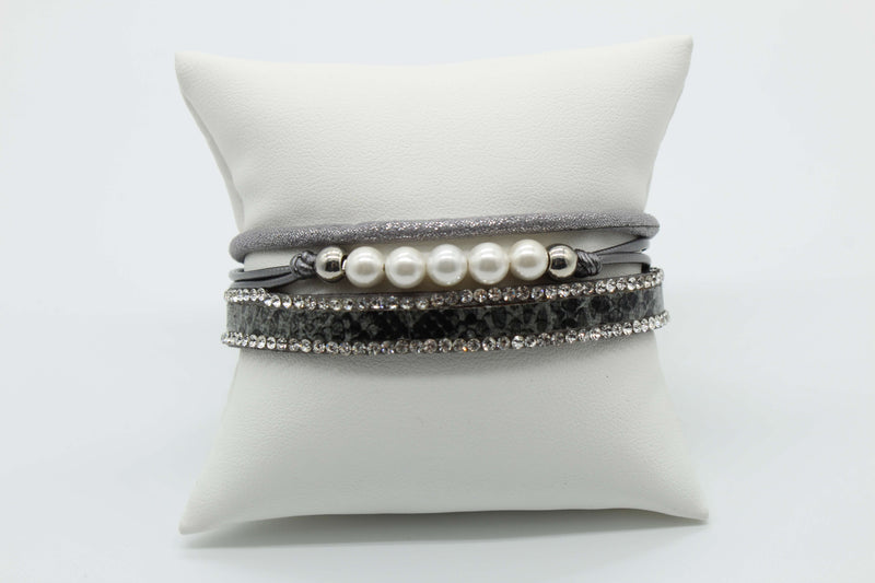 Gray with Rhinestone and Pearl Magnetic Bracelet