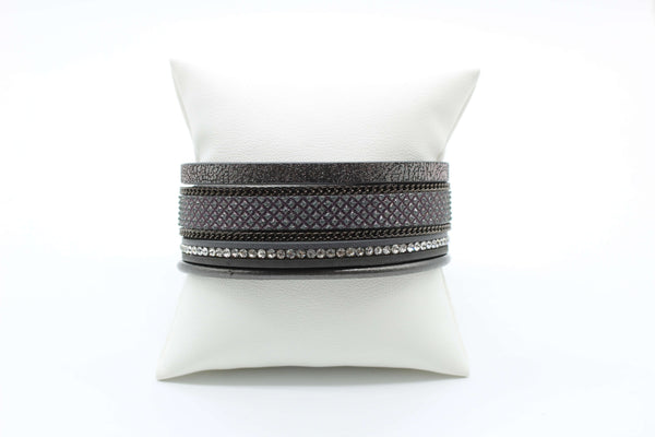 Bracelet - Leather Multi Strand Magnetic Matte Dark Gray with Sparkles