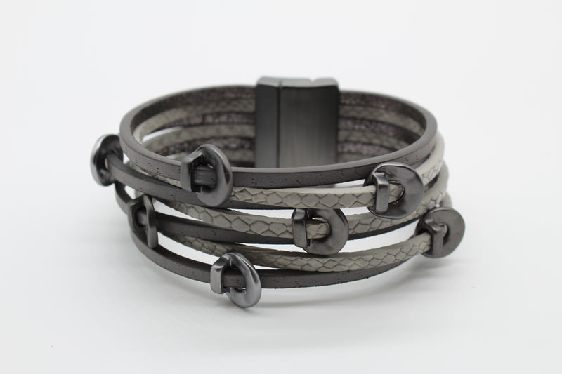 Bracelet - Leather Metallic Gray & Dark Gray Strands with Hematite Sliders. Priced at $28.00.
