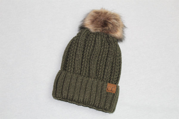 C.C Vertical Knit Hat with Fur Pom