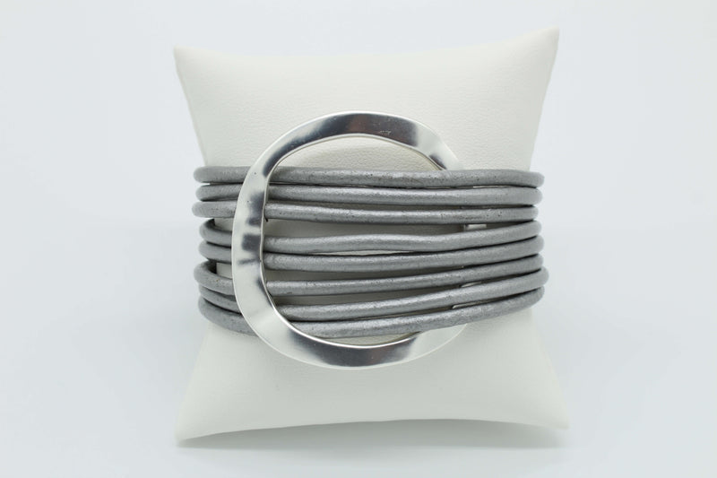 Bracelet Multi Silver Cord with Matte Silver Ring. Priced at $28.00.