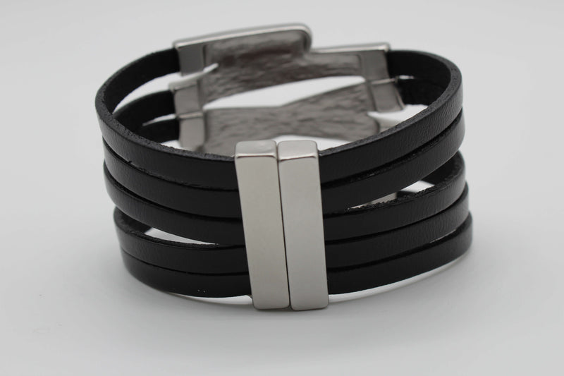 Black with Matte Silver Criss Cross Magnetic Bracelet