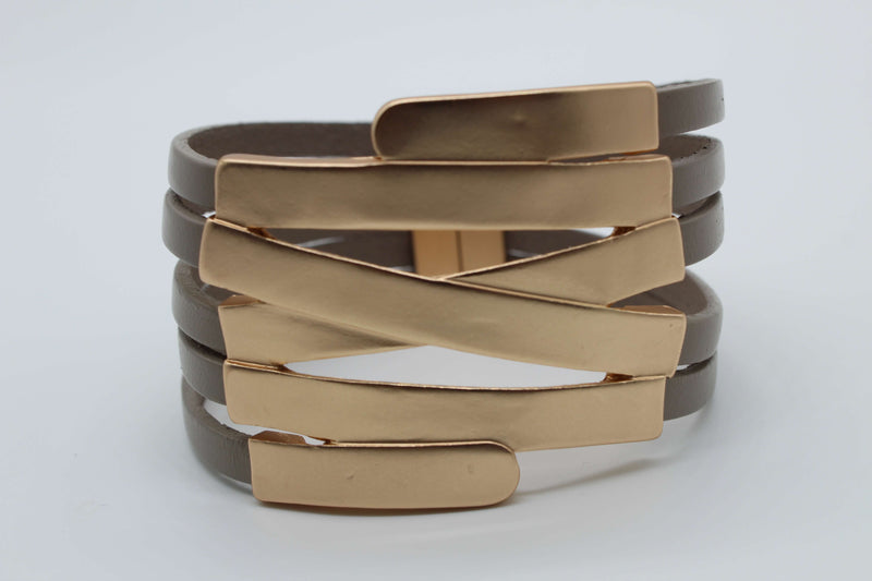 Taupe with Matte Gold Metal Criss Cross Magnetic Bracelet