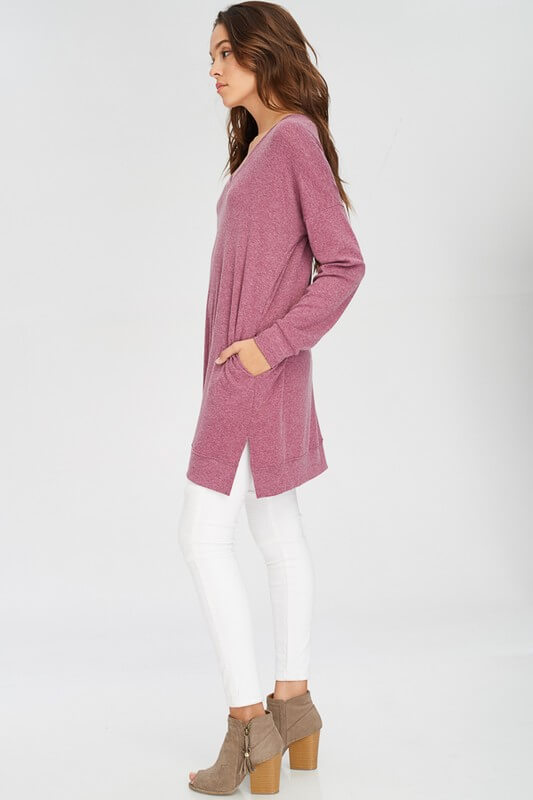 Long Sleeve V-Neck Split Hem Long Sweatshirt