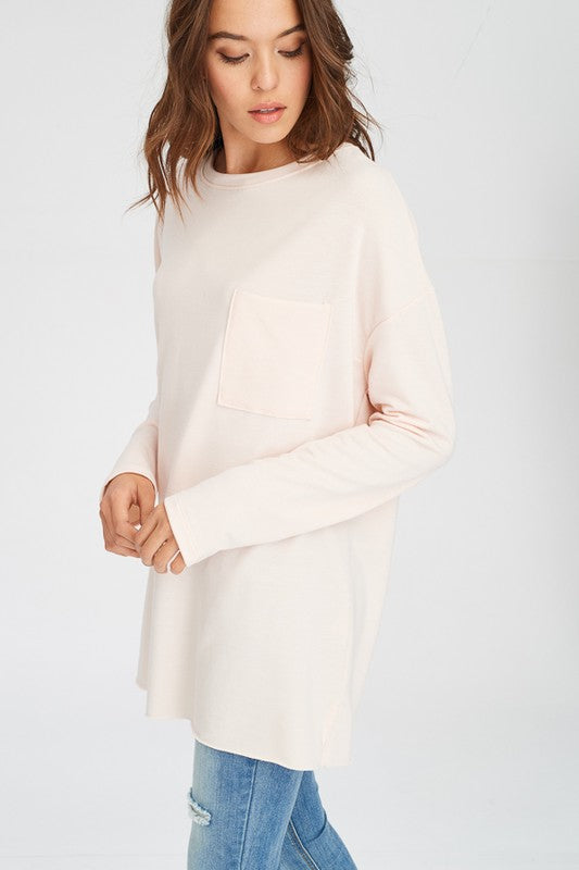 Long T-Shirt Top/Mini Dress with Chest Pocket