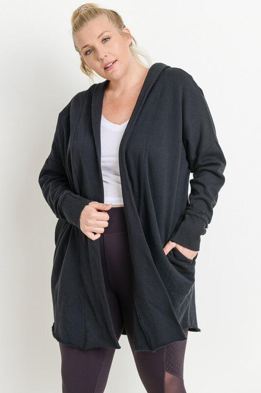This chic longline black  hoodie cardigan features an open front and wide cuffed sleeves and is perfect for those autumn outings.   Mineral wash. Garment dye