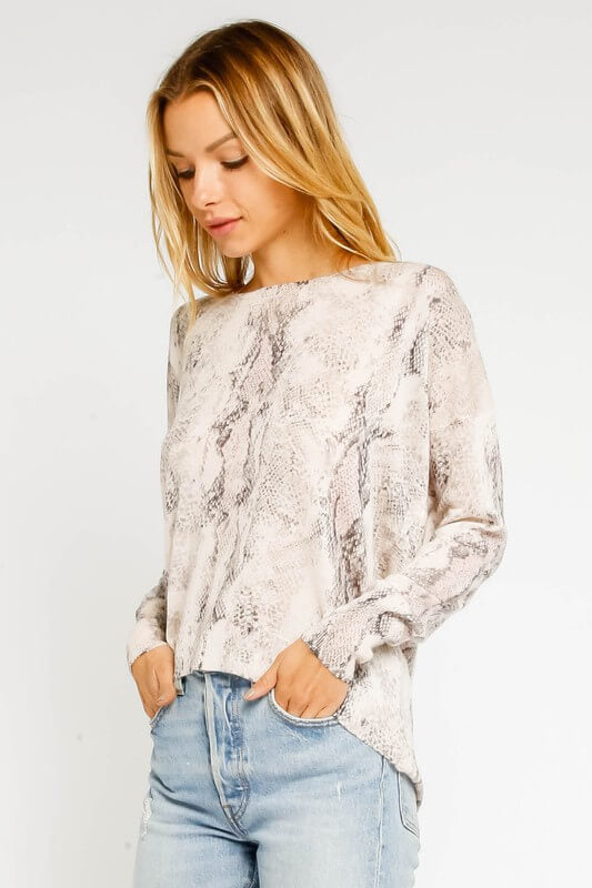 Snakeskin Zipperback Sweater