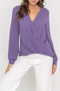 Draped Chiffon Crossover Blouse
