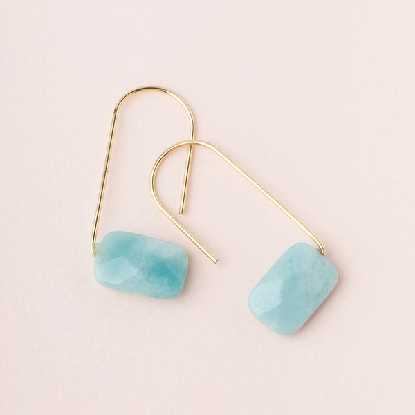 Floating Stone Earring-Amazonite/Gold