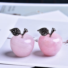Figurine pomme en quartz naturel rose