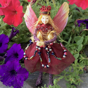 Fae Folk World Winged Jewel Fairy Doll Garnet