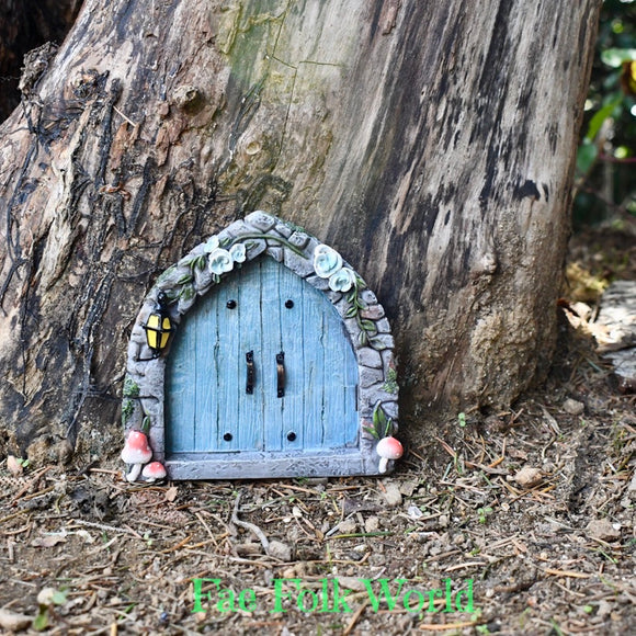 Fairy Door - Arched Blue Double Doors