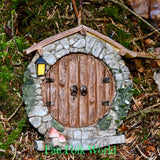 Fairy Door - Round Log Doors with Roof