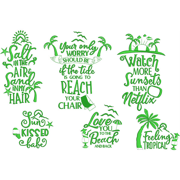 Summer Quotes Charts 2 Machine Embroidery Designs