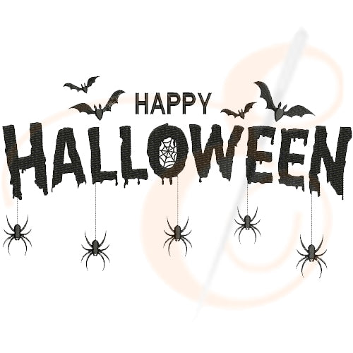 Happy Halloween With Spiders Machine Embroidery Designs