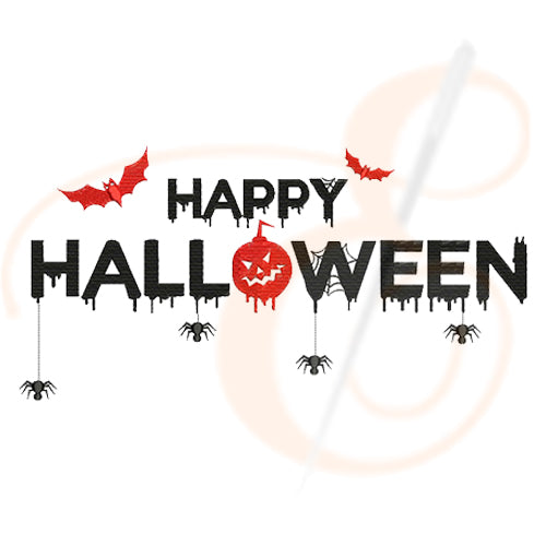 Happy Halloween With Scary Bat Machine Embroidery Designs
