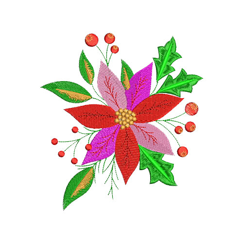 Christmas Poinsettia Flower Machine Embroidery Designs
