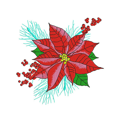 Christmas Poinsettia Machine Embroidery Designs